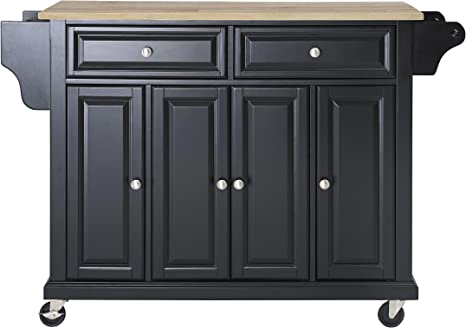 Amazon Com Crosley Furniture Full Size Kitchen Cart With Natural Wood Top Black Kitchen Islands Carts