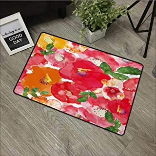 Moses Whitehead Carpets Indoor/Outdoor Area Rugs Flower,Watercolor Styled Effect Floral Theme Beautiful Flowers and Leaves Pattern Art,Red and Orange,for Daily Use-Stylish Floor Mat 35