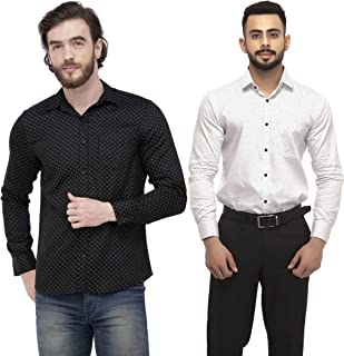 ZAKOD Polka Print Cotton Shirts for Men for Formal Wear,100% Cotton Shirts,Available Sizes M=38,L=40,XL=42(Combo of 2)