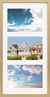 """Frametory, 7x14 Gold Picture Frame - Fits 3-4x6"""" Photos, Aluminum Metal Molding - Three Opening Ivory Mat - Wall Display - Great for Vacation, Holiday, Graduation Prints (Gold)"""
