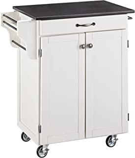 Best white kitchen cart with black granite top Reviews