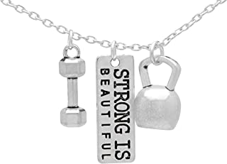 Art Attack Strong Is Beautiful Workout Gym Necklace, Barbell Dumbbell Kettlebell Exercise Pendant Charms