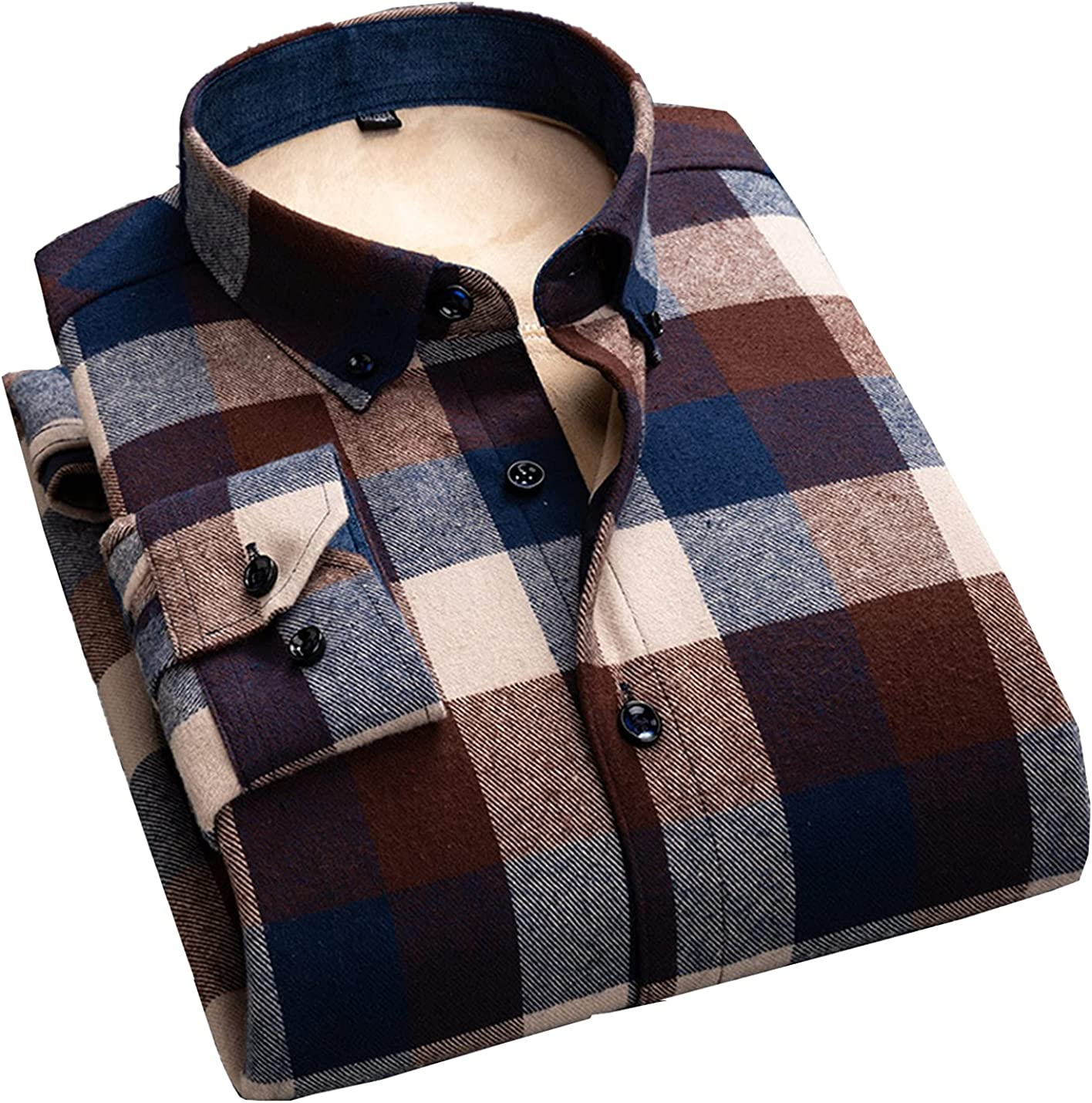 PEHMEA Men's Max 48% OFF Long Sleeve Fleece Sherpa Plaid Cheap Warm Lined Th Shirt