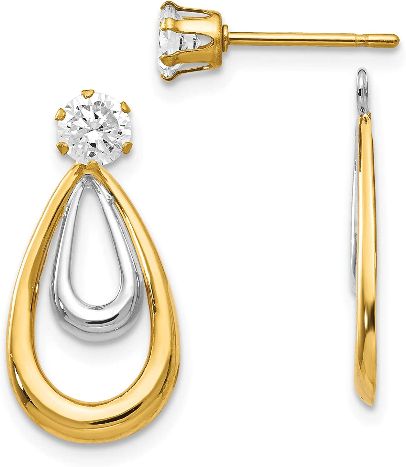Polished Double Tear Drop Earring Jackets with CZ Stud in Real 14k Gold