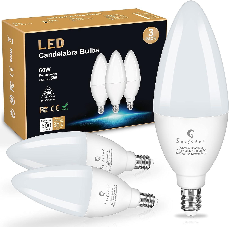 Sailstar Candelabra Light Bulbs 60 Free shipping New 4000K Watt Natura Cheap sale Equivalent