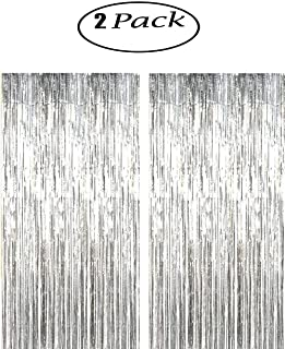 CHIYUN 2 Pack of Large 3.2 ft x 9.8 ft (1M x 3M) Metallic Tinsel Foil Fringe Curtains,glitter streamers for Party Photo Backdrop Wedding Decor,Silver decorations,Highlights for this product for party