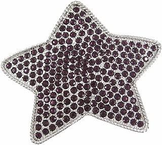 Purple Rhinestone Covered Chrome Star Belt Buckle