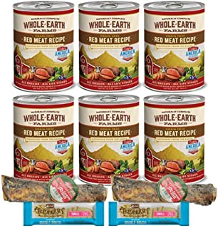 Merrick Dog Food Grain Free-Whole Earth Farms 6 Cans Red Meat 2 Dog Bones 2 Dental Chews 1 Can Lid