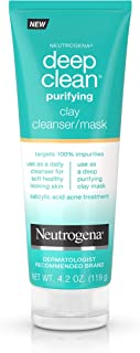 Neutrogena Deep Clean Purifying Clay Face Mask and Facial Cleanser, 4.2 oz