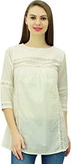 Phagun Women's 3/4 Sleeves Designer Lace Short Tunic Cotton Blouse Summer Casual Tops