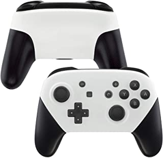 eXtremeRate White Faceplate and Backplate for Nintendo Switch Pro Controller, Soft Touch DIY Replacement Shell Housing Cas...
