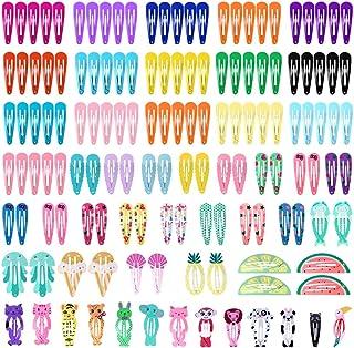 Cridoz 150 Pcs Barrettes Hair Clips, Clips for Hair, Hair Clips for Girls, Hair Barrettes Snap Colorful Metal Hair Clips f...