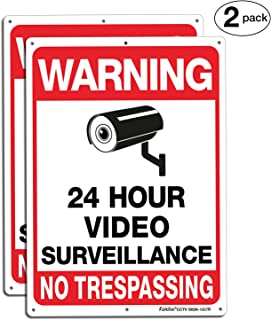 Video Surveillance Sign, No Trespassing Sign, Metal Reflective Warning Sign, 10 x7 Inches 0.40 Aluminum, (2 Pack) Fade Resistant, UV Protected, Waterproof, Indoor or Outdoor Use for Home Business CCTV
