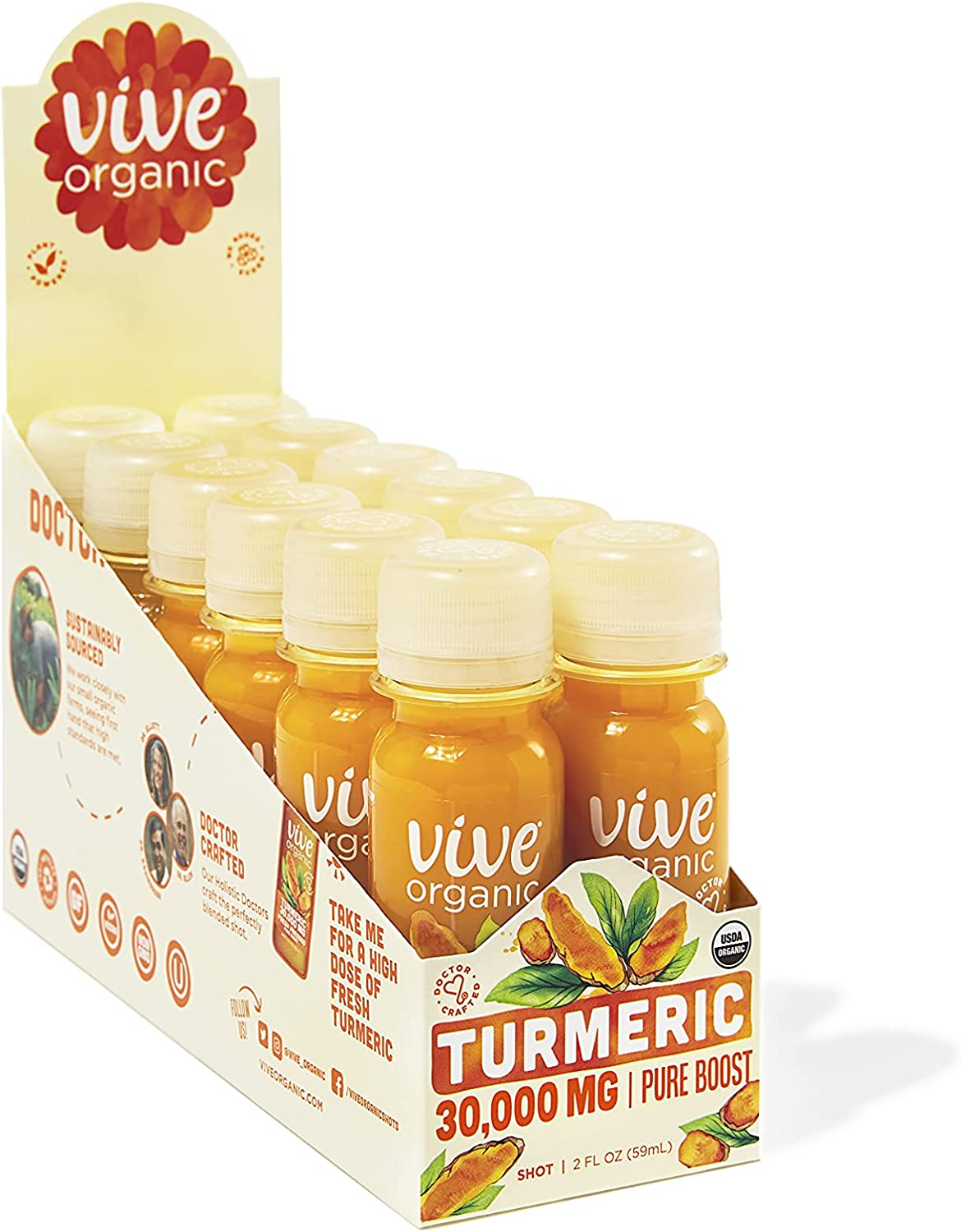Vive Organic Pure Boost Turmeric All items free shipping Clearance SALE Limited time 2 oz Welln Count 12 Immunity