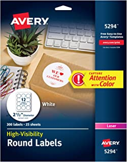 Avery High-Visibility White 2.5 Round Labels, 300 Pack (5294)