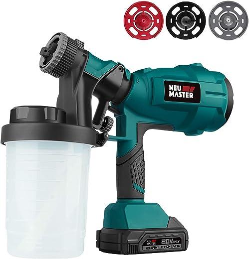 Cordless Paint Sprayer, NEU MASTER Electric HVLP Powerful Spray Gun with 3...