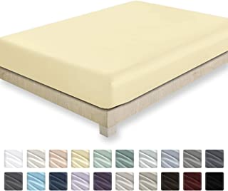 California Design Den 400 Thread Count 100% Cotton 1 Fitted Sheet Only, Vanilla Yellow California King Fitted Sheet, Long - Staple Combed Pure Natural Cotton Sheet, Soft & Silky Sateen Weave