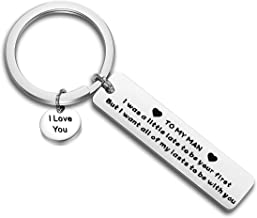 FEELMEM to My Man Love Keychain Gift for Husband I was A Little Late to Be Your First But I Want All of My Lasts to Be with You Boyfriend Gift for Him