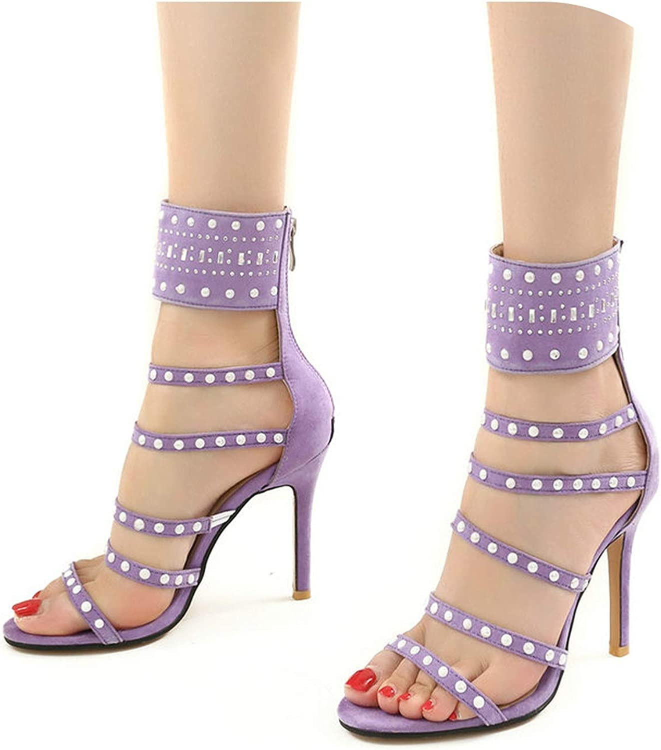 2019 Summer High Heels Women shoes Gladiator Sandals Fashion Crystal Super High Heel Zipper shoes Open Toe Party Ladies shoes