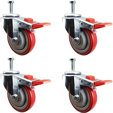 4 Inch Total Lock Caster 1//2-13 x 1-1//2 Threaded Stem Service Caster Brand Rubber Wheel