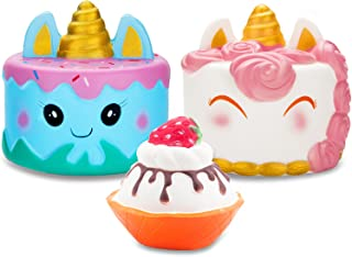 R.HORSE Jumbo Narwhale Cake Squishy Kawaii Cute Unicorn Mousse Ice Cream Scented Squishies Slow Rising Kids Toys Doll Stress Relief Toy Hop Props, Decorative Props Large (3Pack)