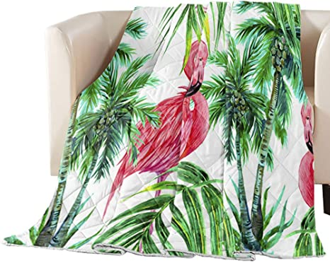Quilted Coverlet Bedspread Flamingo with Tropical Palm Tree Garden Hibiscus Flower Plant Soft Cozy Microfiber Throw Blanket for Bed Couch or Sofa 64 X 88