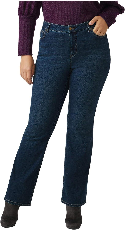 Dressbarn Women's Plus Westport Signature 5 Pocket Bootcut High Rise Jean with Hidden Tummy Solution