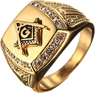 PMTIER Men's Cubic Zirconia Masonic Freemason Gold Plated Stainless Steel Rings