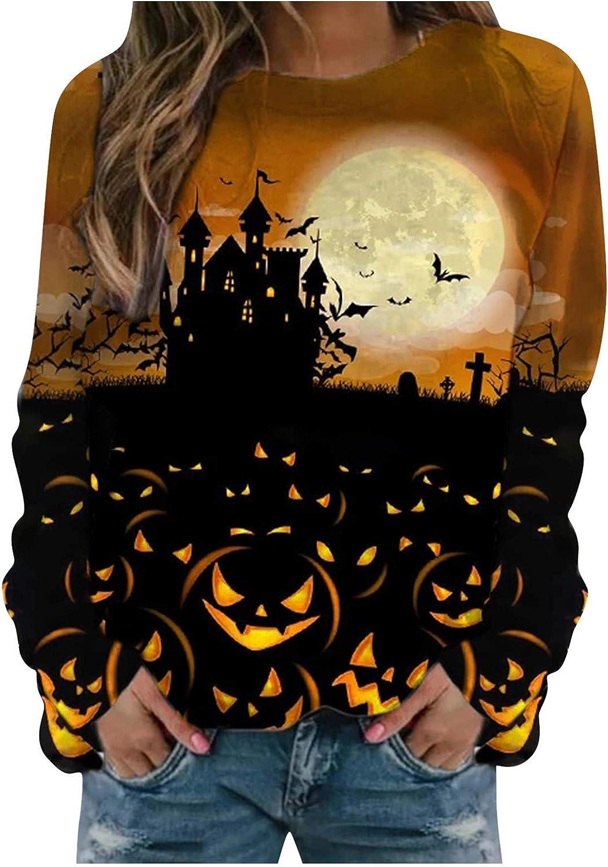 Halloween Sweatshirts For Women, Women'S Long Sleeve Graphic Printed Novelty Sweatshirts Casual Trendy Pullover Tops