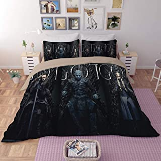 EVDAY Game of Thrones Duvet Cover Set Heavy-Duty Comfortable Microfiber Polyester Fashion 3D Design Bedding 3Piece Including 1Duvet Cover,2Pillowcases Queen Size