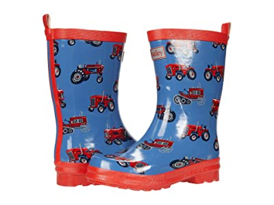 Hatley Kids Vintage Tractors Shiny Rain Boots (Toddler/Little Kid) (Blue) Boy