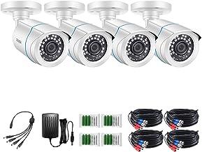 ZOSI 4 Pack HD-TVI 1280TVL (720P) دوربین های ضد گلوله ضد آب در مقابل هوا KitNight Vision تا 100FT (30M)