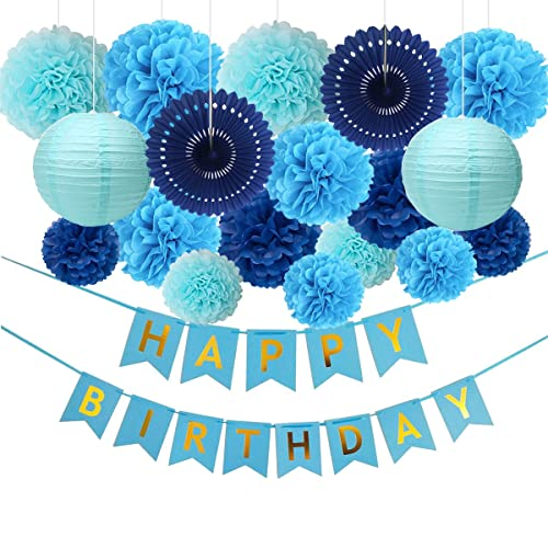 HAPPY BIRTHDAY MAN Banner Sign Party Decorations Blue Vintage Room Decor Boys