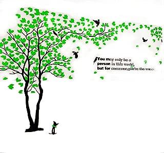 XMSJSIY Tree Birds 3D Wall Decals Murals DIY Wall Stickers Tattoos Acrylic Home DecorWall Decor- Green 40inch TreeHeight(Small L:2 X H:1m)