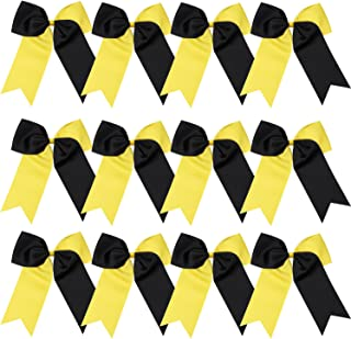 8 Inch 2 Colors Jumbo Cheerleader Bows Ponytail Holder Cheerleading Bows Hair 12 Pcs (Yellow/Black)
