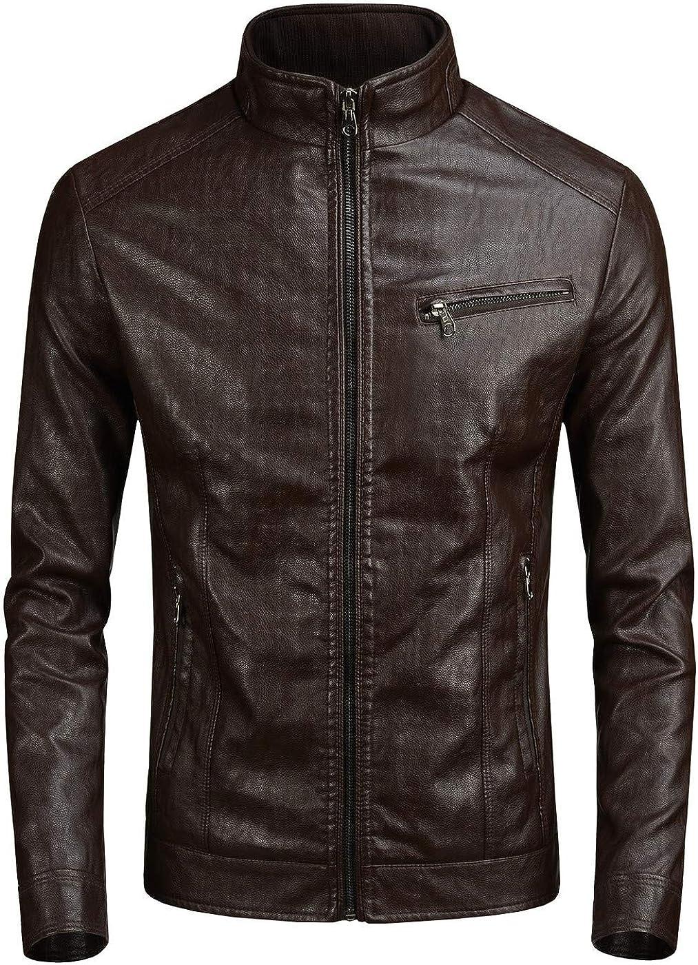 JUREX Men's Vintage New product type Leather Easy-to-use Moto Biker Black Jacket