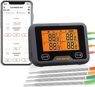 Inkbird Wi-Fi & Bluetooth Vleesthermometer IBBQ-4BW, Oplaadbare Draadloze BBQ thermometer met 4 probes voor Roker, Oven, K...