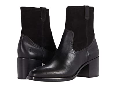 Frye Monroe Stretch Bootie (Black Vintage Veg Tan/Stretch Leather) Women