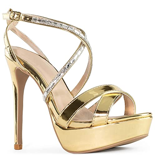 7a1ed664f RF ROOM OF FASHION Women s Patent Triple Strap Single Sole Stiletto Heel  Dress Sandal