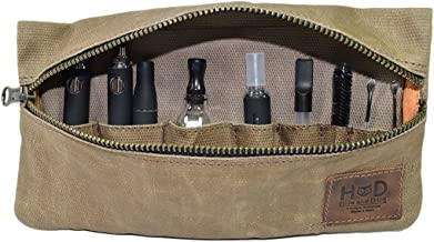Waxed Canvas Vape Pen Accessories Kit Pouch Holder, Secure Fit, Cord Storage, G Pen Soft Travel Bag Handmade by Hide & Drink (Accessories not Included) :: Fatigue