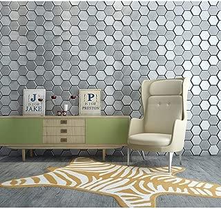Art3d 20-Piece Decorative 3D Wall Panels Faux Leather Tile, Silk Silver Hexagon