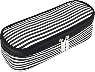 JEMIA - Black White Stripes Canvas Pencil Case with Dual Zipper Compartment to Hold Office Cosmetic Makeup Supply Accessories in Organized for Kid, Teen Student, Boy, Girl or Adult for Men, Women