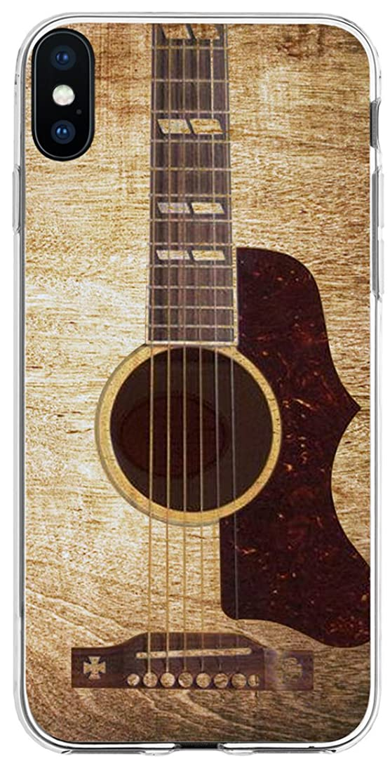 TPU Case for Phone Xs Guitar & Cover for Phone X & MUQR Flexible Gel Silicone Slim Drop Proof Protection Cover Compatible with iPhone Xs(10S) & X(10) & Vintage Guitar Music Theme