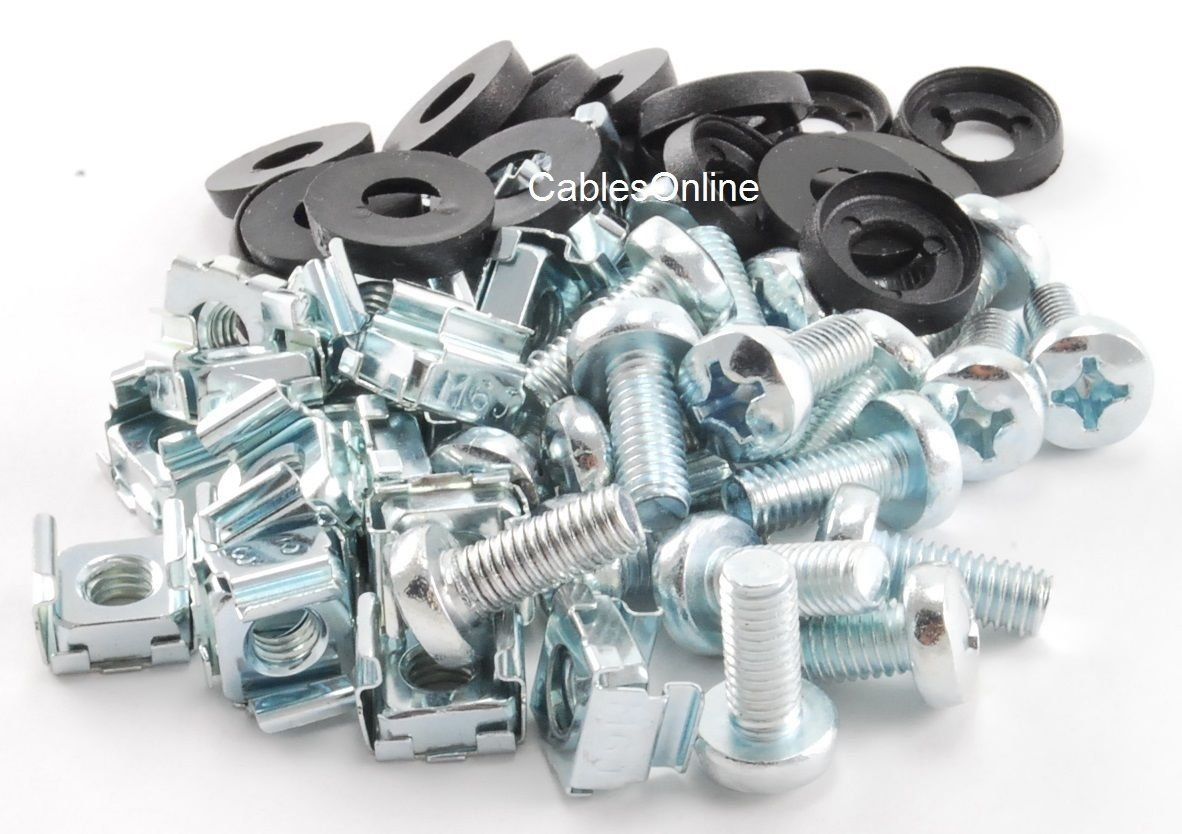 CablesOnline, 20 Piece Server Rack & Cabinet M6 Cage Nuts & Mounting Screws, RR-H20
