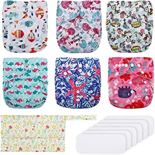 Reusable Baby Cloth Diapers Exqline Washable Pocket Nappies Adjustable Diapers for Baby Girls and Boys, 6 Pack + 6 Inserts...