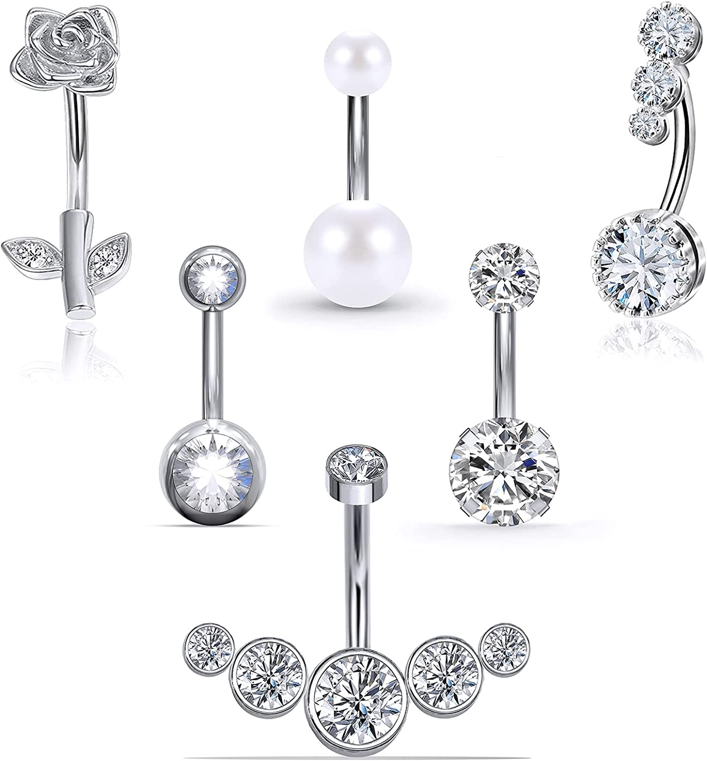 Pnsgisr Belly Button Rings Belly Rings Belly Button Rings Dangle Belly Button Rings Surgical Steel Belly Ring Belly Button Ring Belly Piercing Dangle Belly Button Rings Belly Rings for Women Navel 14G