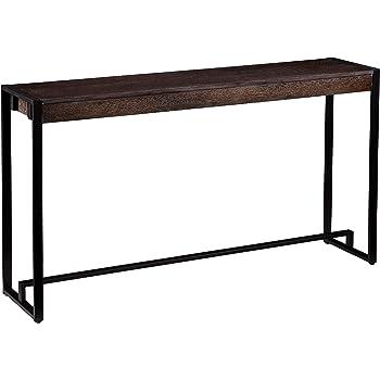 "SEI Furniture Macen Narrow Console Table, 54"", Burnt Oak, Black"