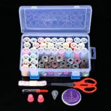 Decdeal Thread Bobbins Set Mixed Colors 32 Thread Bobbins + 32 Thread Spools Sewing Accessories Supplies Kit with Measurin...