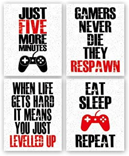"Funny Game Art Print Inspirational Words Quote Poster Set of 4 (10 ""X8 ""Canvas Gaming.."