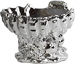 Urban Trends Ceramic Open Valve Clam Shellfish Bowl on Conch Shell Base with Polished Chrome Finish, Silver
